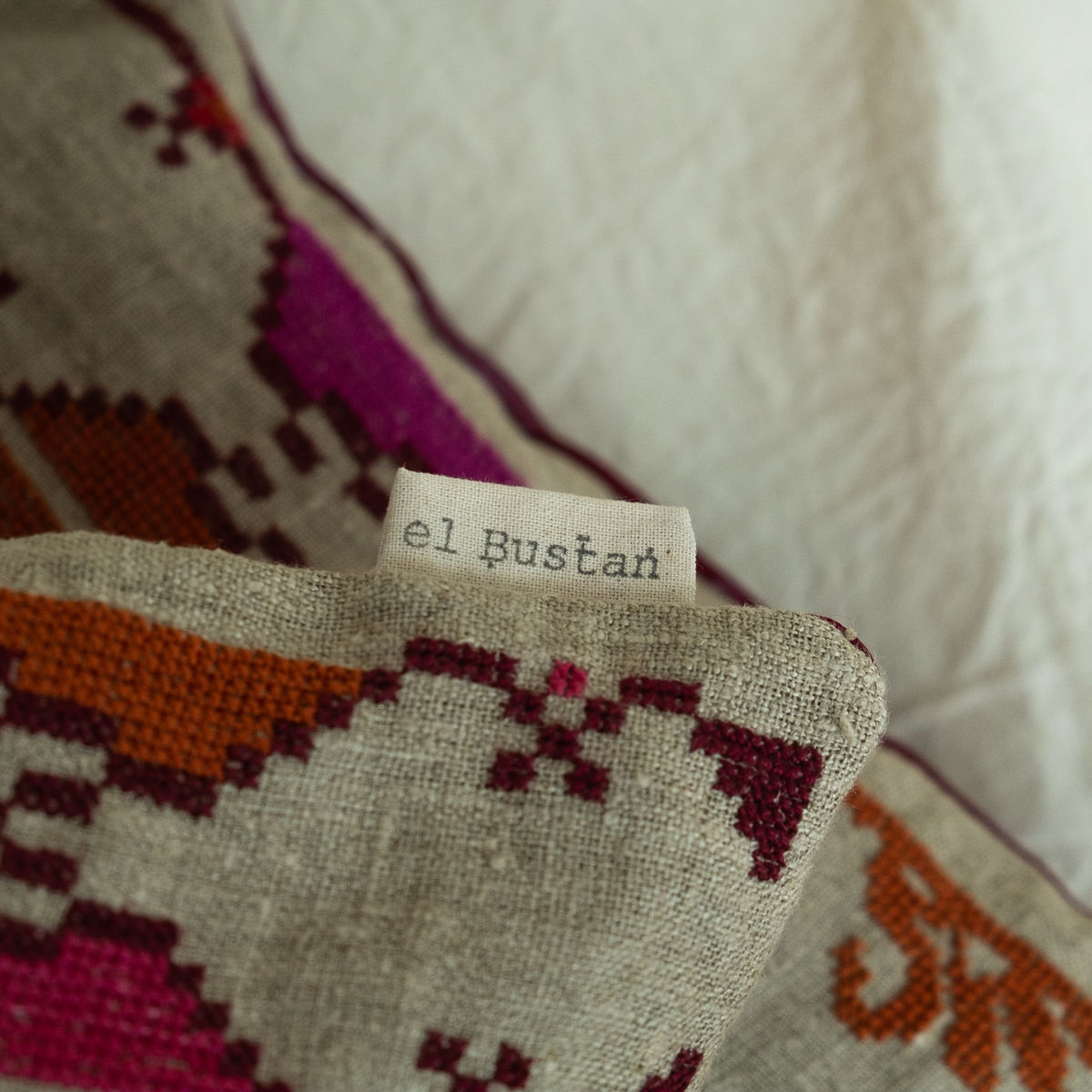 "Saru & birds cushion #1 - Palestinian embroidery - by ""Women in Hebron"" - Limited edition - product images  of"