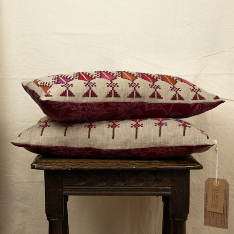 "Saru,&,birds,cushion,#1,-,Palestinian,embroidery,by,""Women,in,Hebron"",Limited,edition, Elbustan, El Bustan, Palestine, Palestinian, West Bank, Bethlehem, Jerusalem, Nablus, Ramallah, Hebron handicrafts, heritage, cross stitch, women in Hebron, hand stitched, Handmade,Hand carved, hand crafted crafts, Artisans, ethical, Fair Trad"