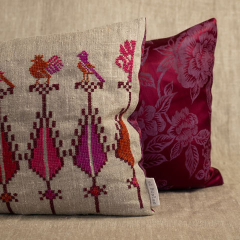 "Saru,&,birds,cushion,#2,-,Palestinian,embroidery,by,""Women,in,Hebron"",Limited,edition, Elbustan, El Bustan, Palestine, Palestinian, West Bank, Bethlehem, Jerusalem, Nablus, Ramallah, Hebron handicrafts, heritage, cross stitch, women in Hebron, hand stitched, Handmade,Hand carved, hand crafted crafts, Artisans, ethical, Fair Trad"
