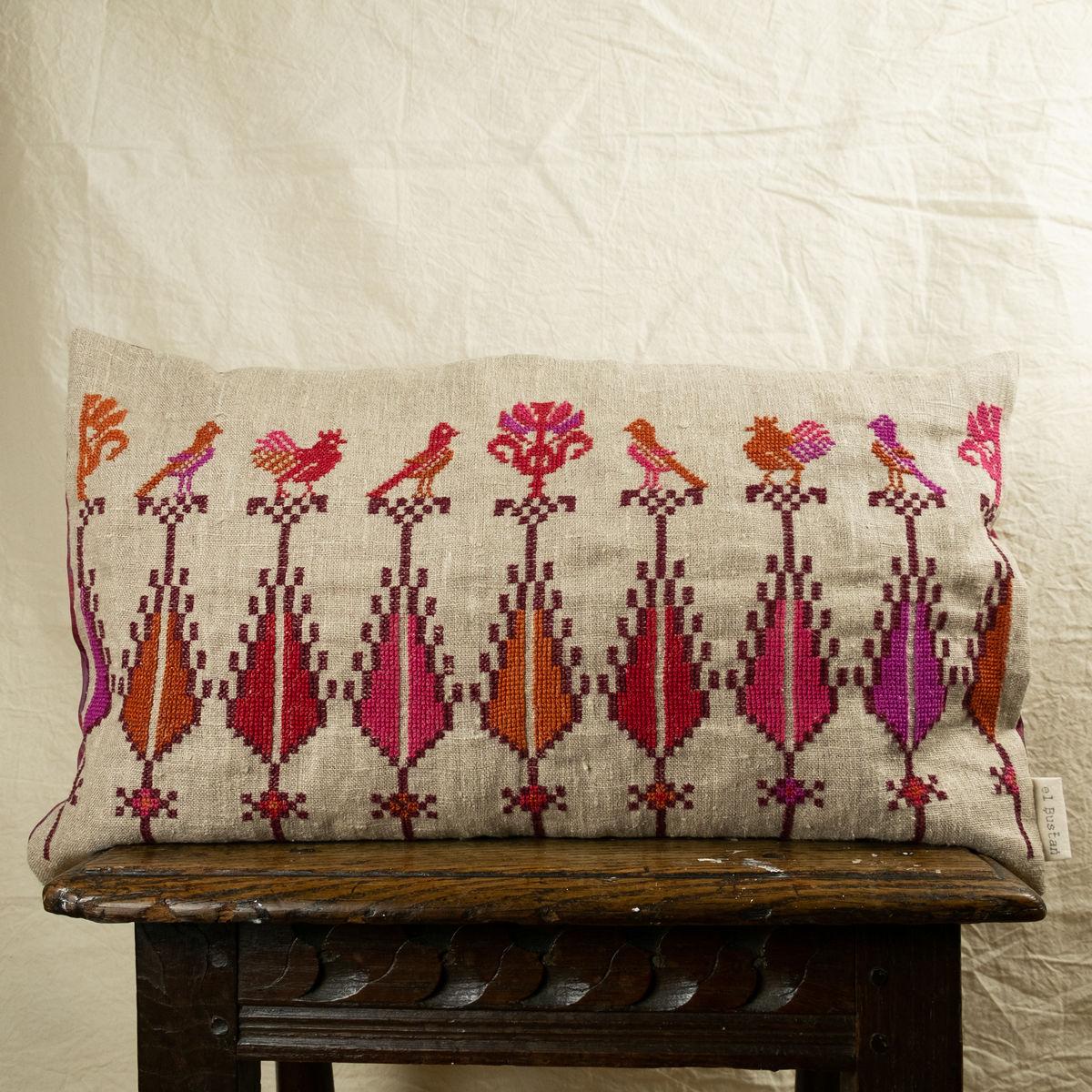 Saru Birds Cushion 2 Palestinian Embroidery By Women In