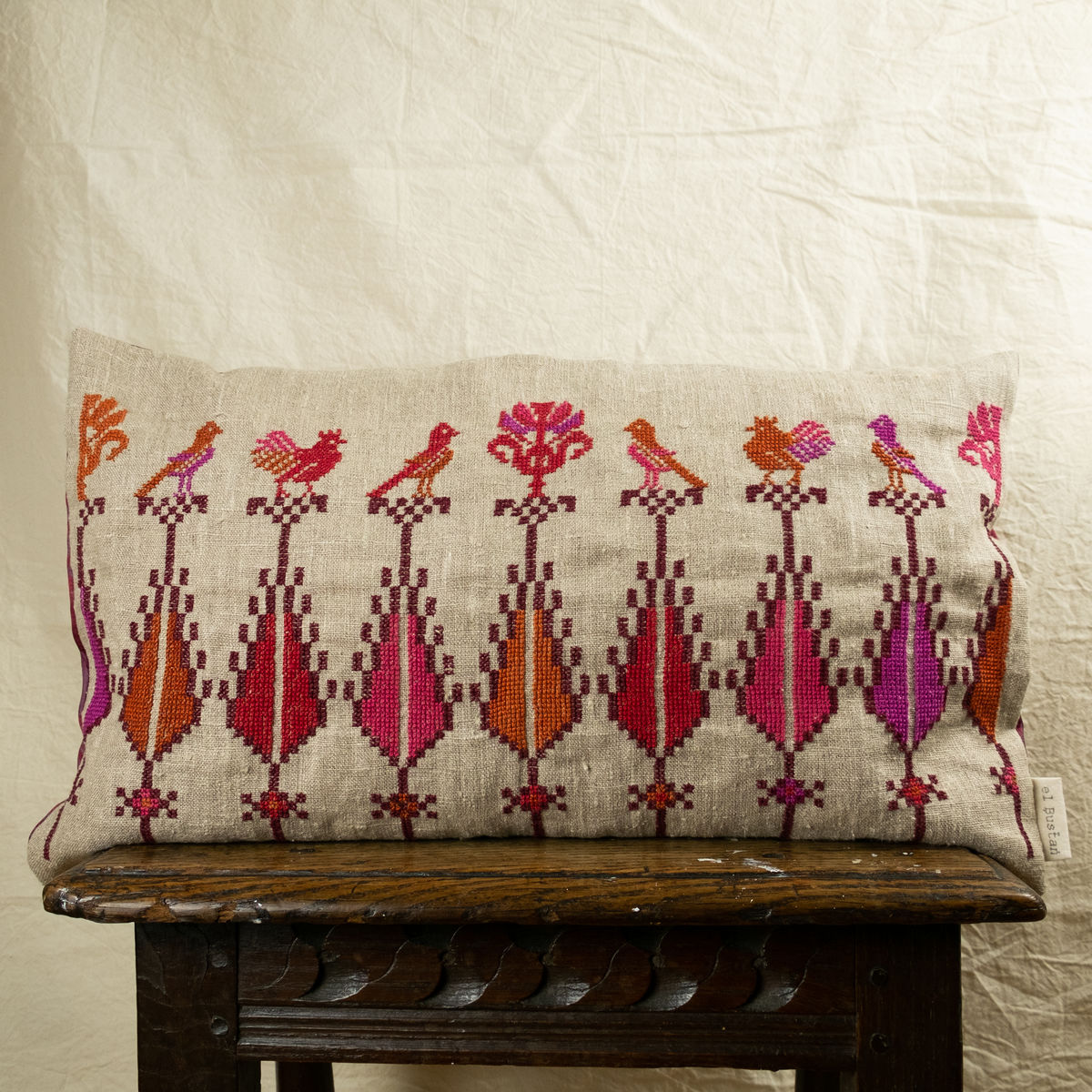"Saru & birds cushion #2 - Palestinian embroidery - by ""Women in Hebron"" - Limited edition - product images  of"