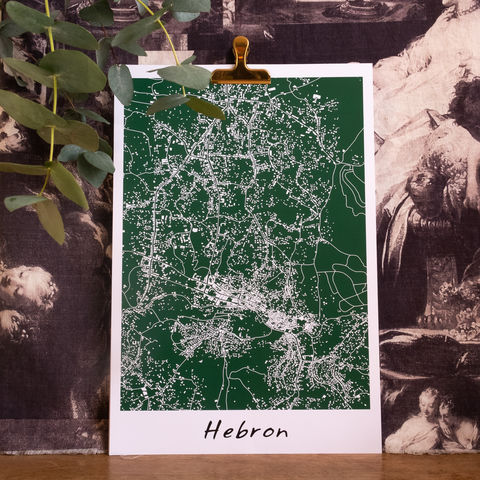 Hebron,city,map,-,Poster,Palestinian,Cities,collection,by,NOL,Design,Studio,elbustan, albustan, palestine, palestinian, art, print, screenprinting, maps, posters, skyline, map of palestine, palestinian map, palestinian art, palestinian design, palestinian landscape, palestinian culture, palestinian heritage, palestinian skyline,