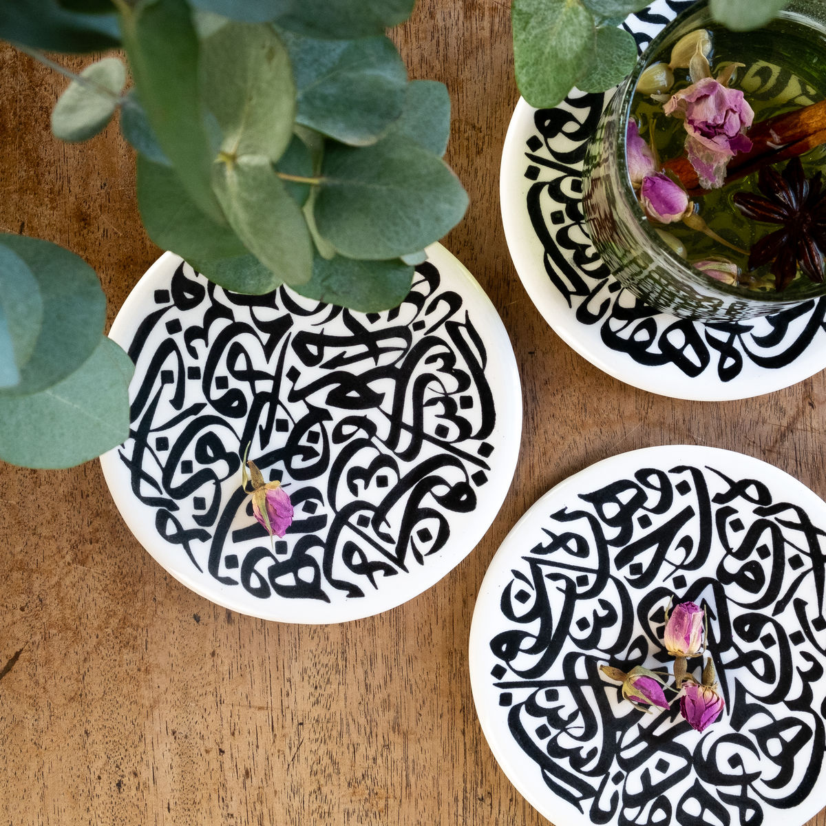 Arabic calligraphy art - coaster / plate - Letters -  by artist calligrapher Ahmad Zoabi - product images  of
