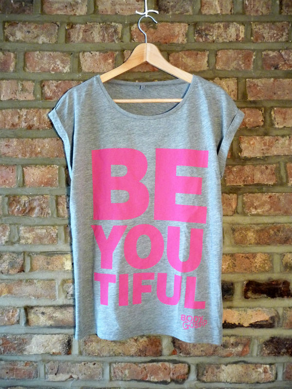 grey rolled sleeve tunic + pink 'beYOUtiful' slogan - product image