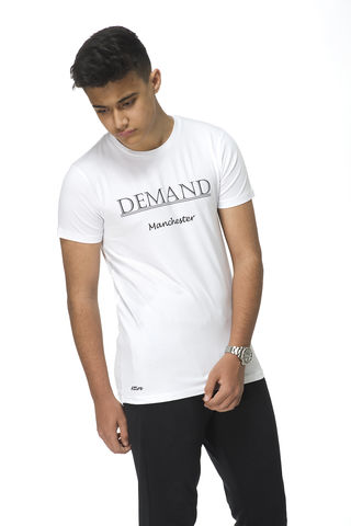 Demand,Manchester,White,Tee, T-Shirt, Demand Attire, Demand Attire Tee, Demand Manchester Top, Demand Manchester Tee, Demand Manchester T-Shirt