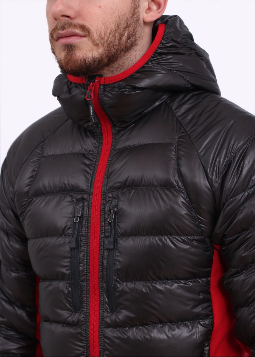 canada goose hybridge lite hoody black and red