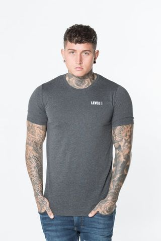 Level,1,Essential,Tee,Charcoal,Grey,level 1 clothing, level 1 essential grey tee, level 1 essential grey top, level 1 top, level 1 tee, level 1 t-shirt