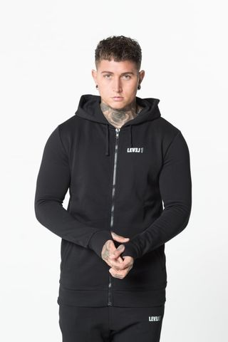 Level,1,Essential,Zip,Hoodie,Black,level 1 clothing, level 1 essential hoodie black, level 1 top, level 1 tee, level 1 t-shirt