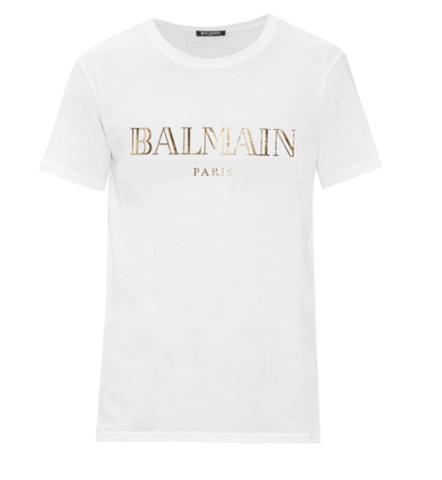 4e52bfe73 Balmain,Men's,White,Logo,T-Shirt,Balmain white top,