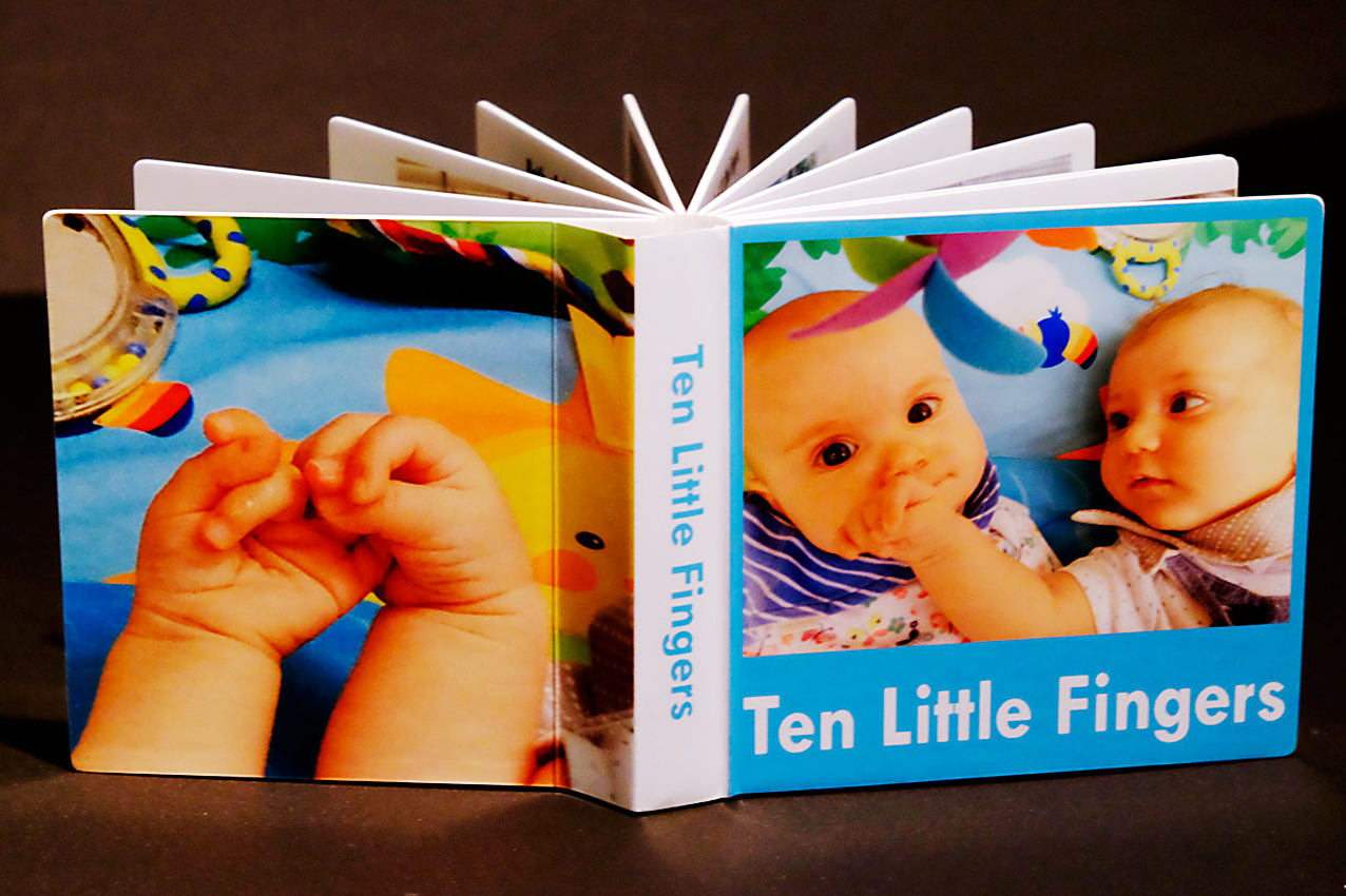 Bespoke Board Book - Pocket size. Personalized Custom made photo and illustration board books for baby, toddler, birthday, wedding... Custom sizes, safe and great quality.