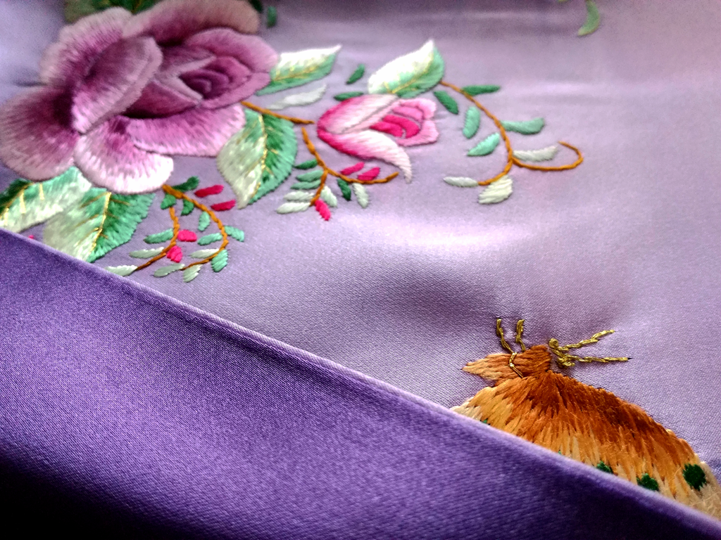 purple embroidery silk scarf - product images  of