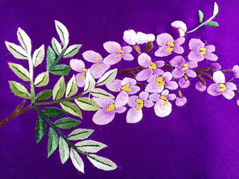 flower,hand,embroidery,scarf,silk embroidery scarf