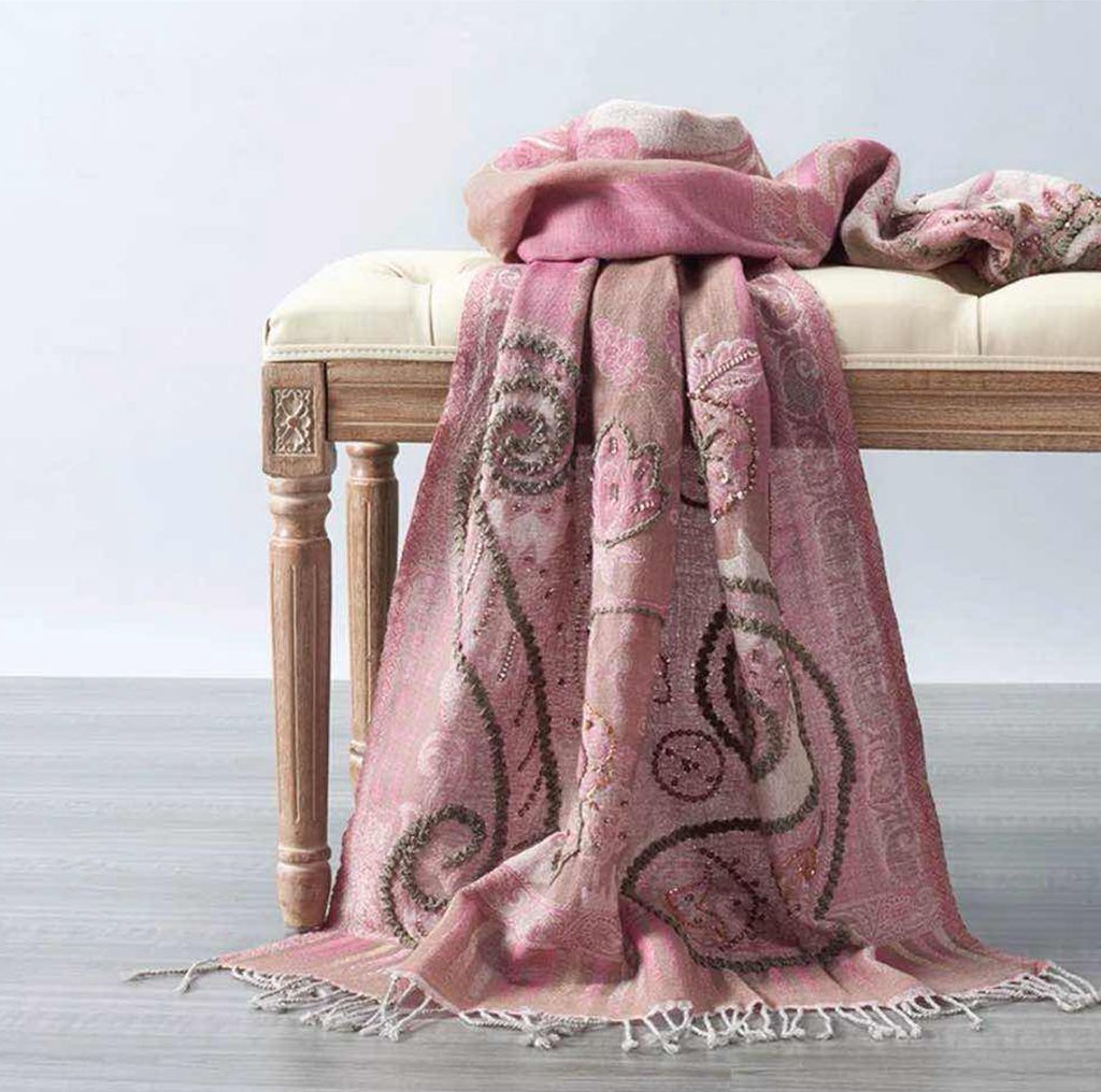 pink wool embroidery scarf - product images  of
