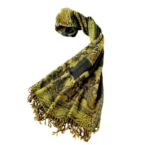 olive,hand,embroidered,wool,scarf,thick wool scarf