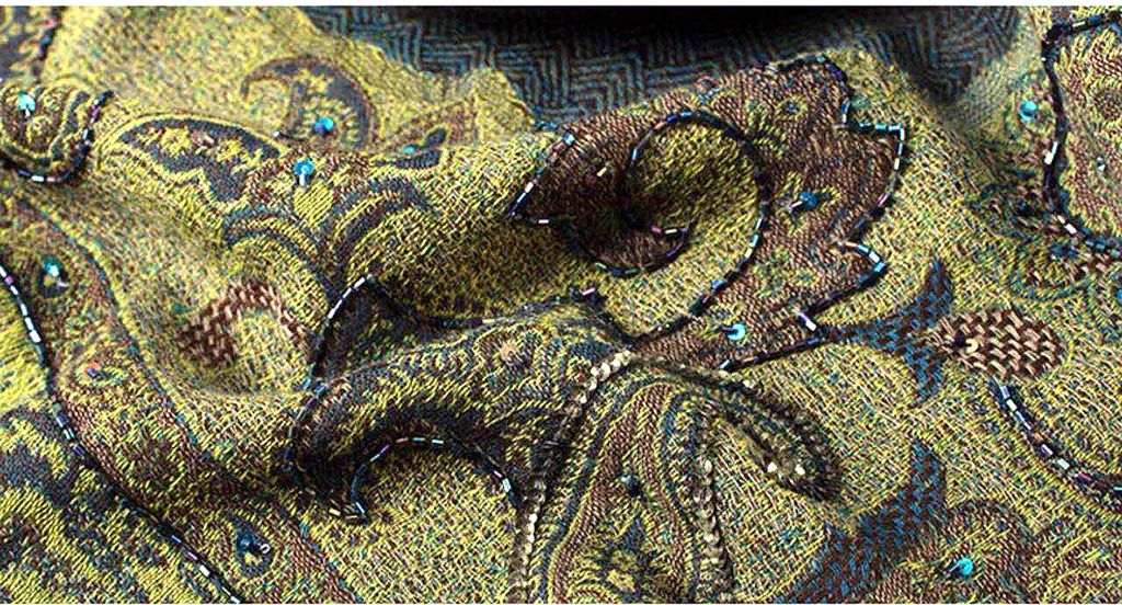 olive hand embroidered wool scarf - product images  of