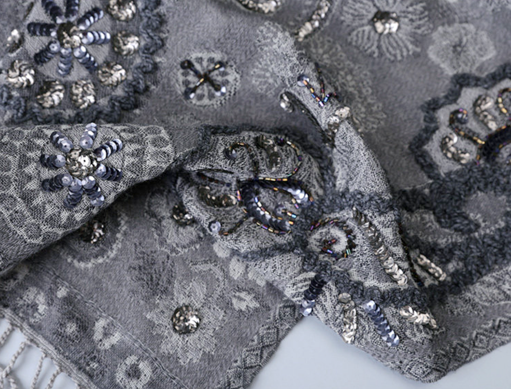Luxury hand jacquard wool scarf - product images  of