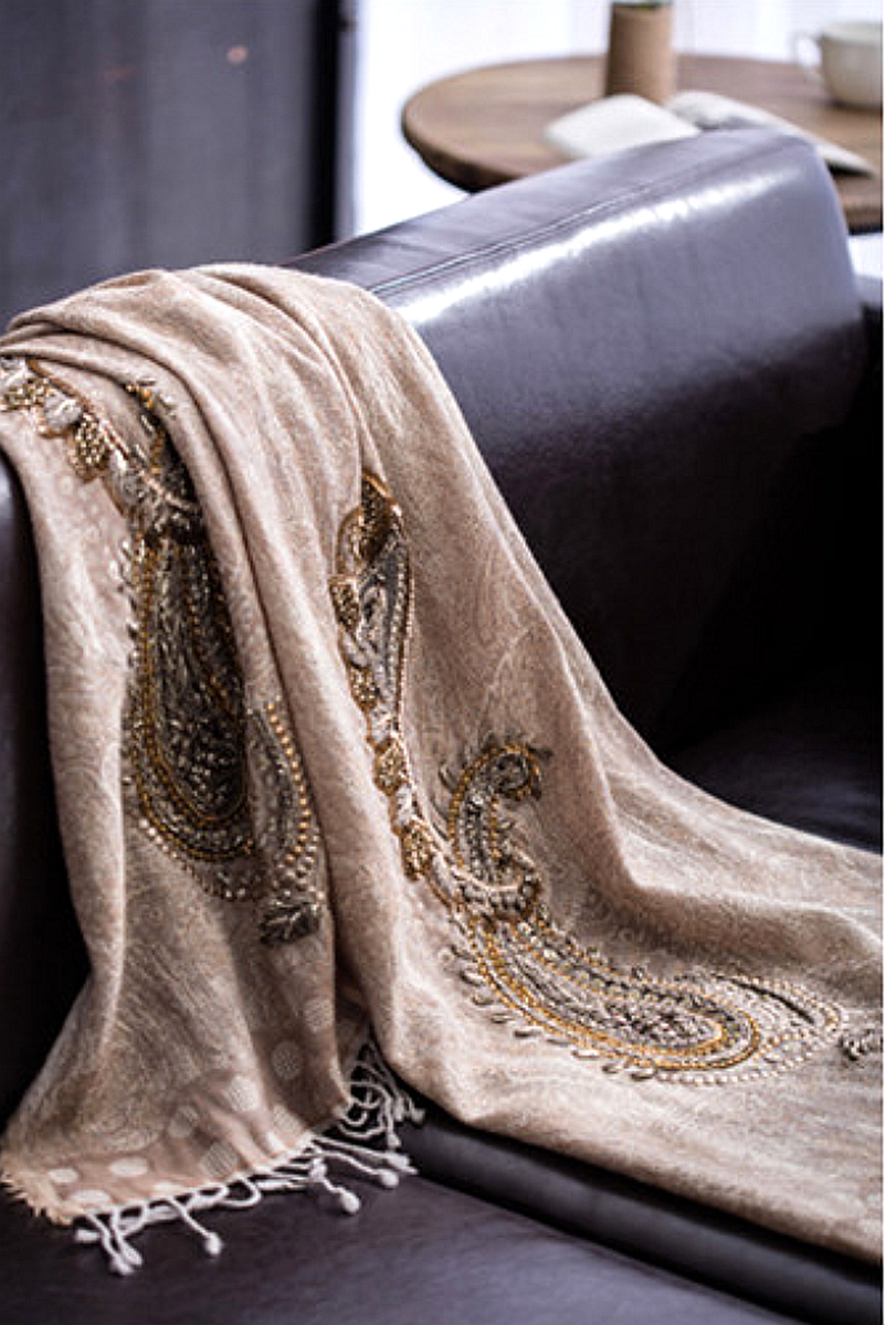 Champage Hand Embroidered Paisley Scarf - product images  of