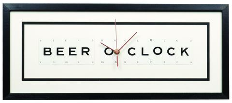 Beer,O'Clock,beer, clock, vintage, upcycled, recycled, unique, gift, housewarming, accessories, design, typography, monochrome