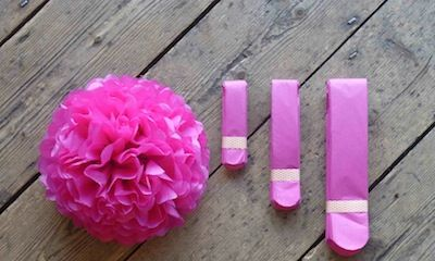 Pink,Pom,upcycled, recycled, vintage, pom pom, pink, handmade, wedding, christmas, decoration, eco,