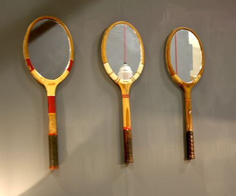 Vintage,Racket,Mirrors,upcycled, vintage, tennis, wooden, racket, bat, mirror, reclaimed, modern, rustic, fn, funky
