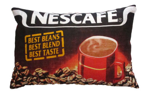 Upcycled,Nescafe,Coffee,Cushion,upcycled, recycled, vintage, nescafe, coffee, lovers, gift, cushion, pillow, bold, statement, kitchen