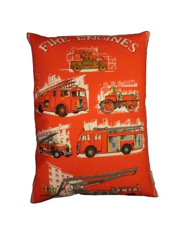 Upcycled,Fire,Engine,Cushion,upcycled, recycled, vintage, red, fire engine, decor, cushion, pillow, bold, statement, gift
