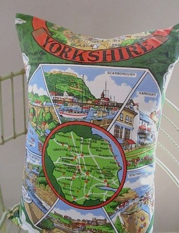 Yorkshire,Map,Cushion,upcycled, vintage, yorkshire, cushion, pillow, map, travel, gift, modern, bold, statement