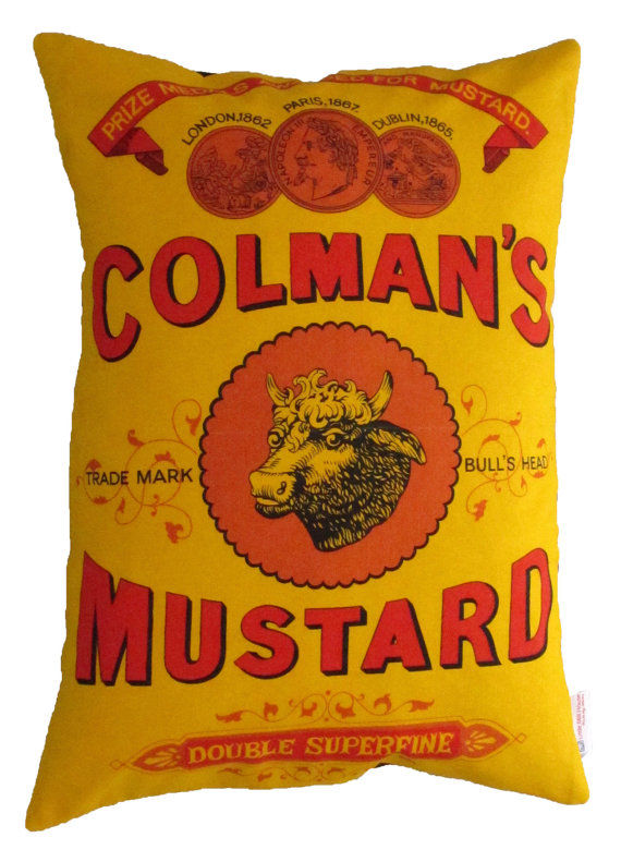 Upcycled Retro Colmans Mustard Cushion - product images  of