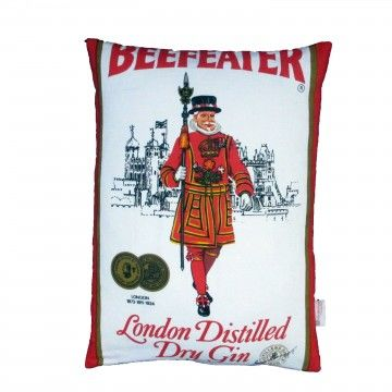 Upcycled,Beefeater,Gin,Cushion,upcycled, recycled, vintage, bold, advertising, cushion, pillow, design, decor, gin, lover, cocktails, drinks, gift, housewarming