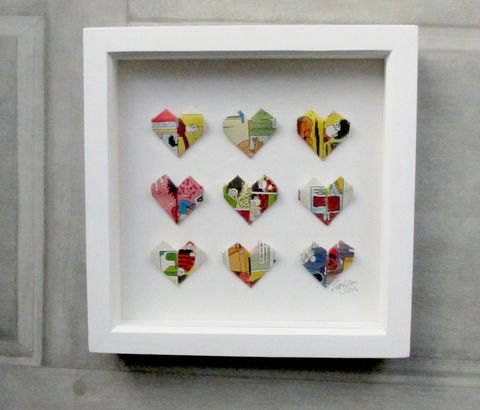Paper,Heart,Wall,Art,upcycled, recycled, origami, handmade, art, artwork, hearts, wedding, christmas, birthday, gift, unique