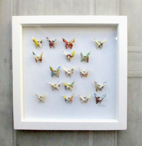 Paper,Butterfly,Wall,Art,upcycled, recycled, art, artwork, vintage, origami, wall, decor, butterflies, framed, contemporary, modern