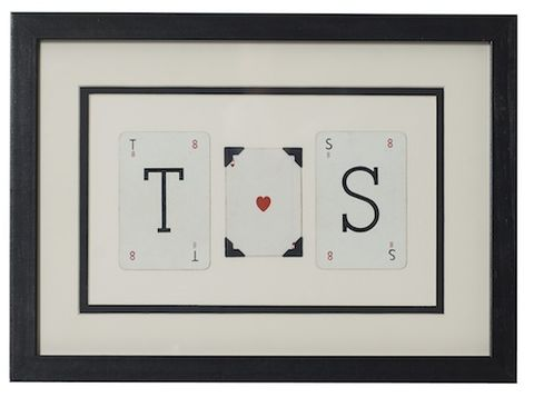 Personalised,Love,Initials,vintage,playing,card,frame,upcycled, personalised, vintage, playing, card, framed, art, decor, bold, design, statement, eco, gift, wedding, housewarming, valentines, love, sign