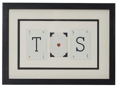 Personalised Love Initials vintage playing card frame - product image