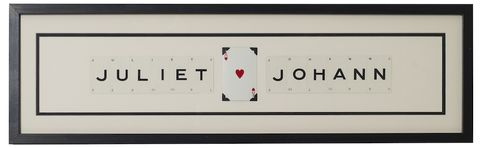 Personalised,Love,Vintage,Playing,Card,Frame,upcycled, recycled, vintage, personalised, playing, cards, framed, print, art, artwork, monochrome, unique, gift, wedding, housewarming, love, valentines