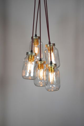 5,Jam,Jar,Chandelier,upcycled, recycled, vintage, kilner, jam, jar, light, lamp, cluster, chandelier, red, gold, blue, cable, 5, quirky, lighting, unique
