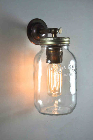 Jam,Jar,Wall,Light,jam, jar, wall, light, pendant, quirky, cool, industrial, kilner, lamp, brass, nickel, bronze, filament