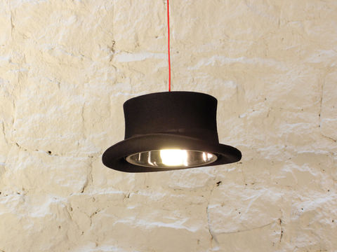 Edward,Top,Hat,Light,upcycled, recycled, top,hat, eco, sustainable, statement,pendant, light, lighting, bold, large, unique, coloured, cable