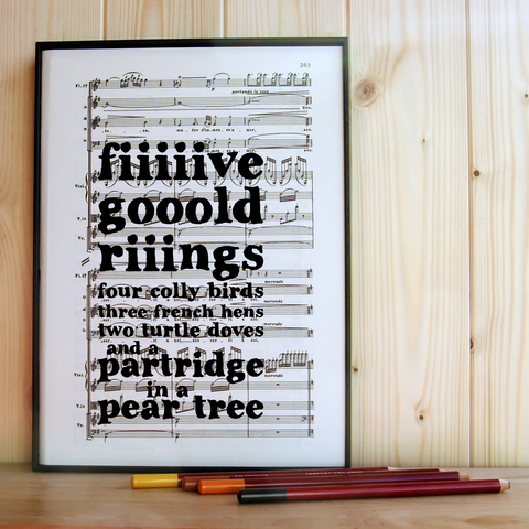 Five,Gold,Rings,Music,Print,upcycled, recycled, book, sheet, music, christmas, decoration, decor, xmas, print, quote, monochrome, black & white, cool