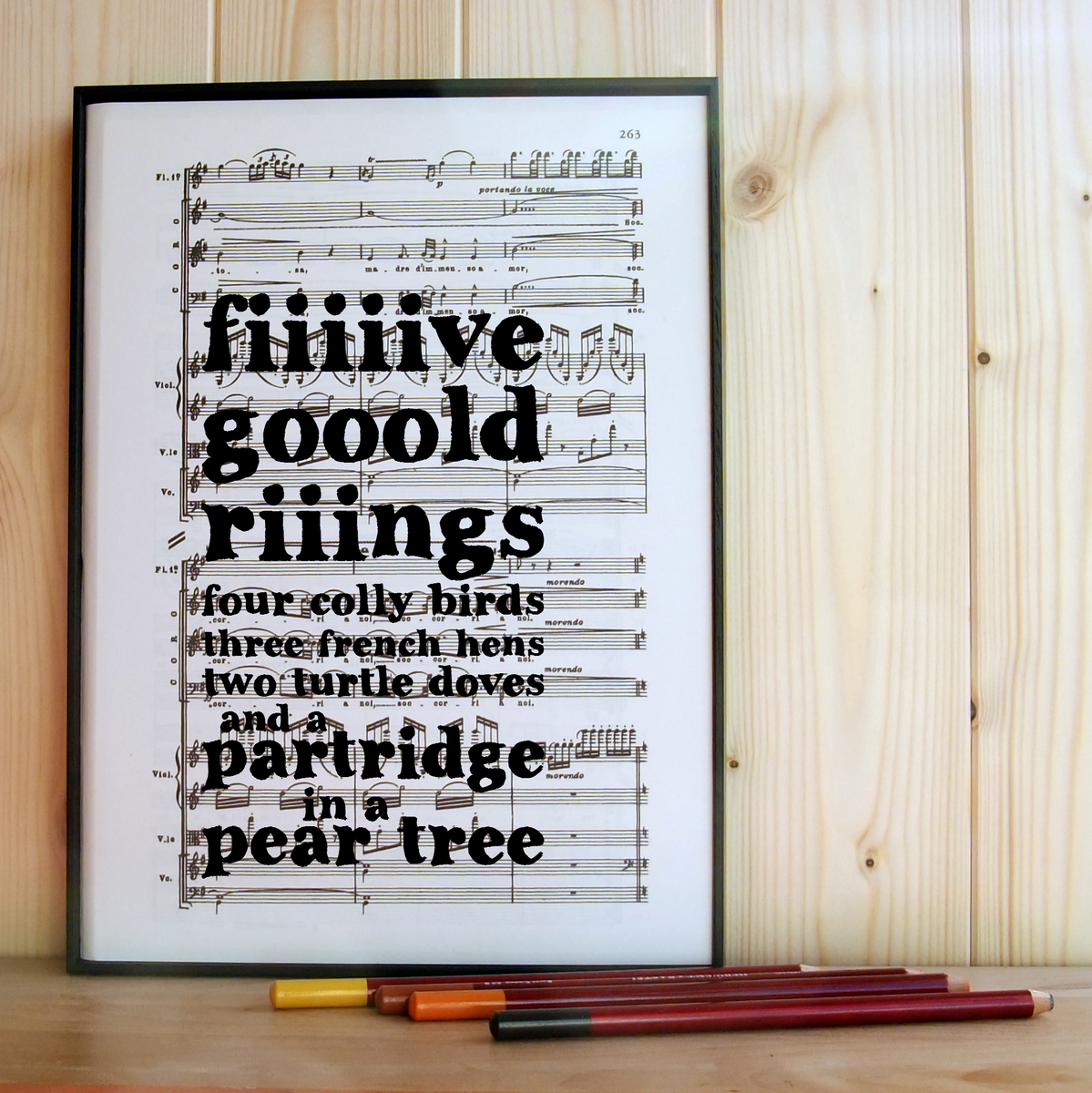Five Gold Rings Music Print - product image