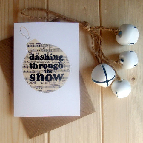 'Dashing,through,the,snow',Christmas,Card,dashing, through, the, snow, christmas, xmas, card, cool, modern, stylish, monochrome, book, print, bauble, decor, decoration, gift