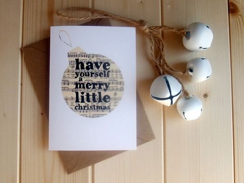 'Have,yourself,a,merry,little,Christmas',Bauble,Christmas,Card,have, yourself, merry, christmas, bauble, card, xmas, recycled, book, page, monochrome, stylish, black & white, decor, decoration
