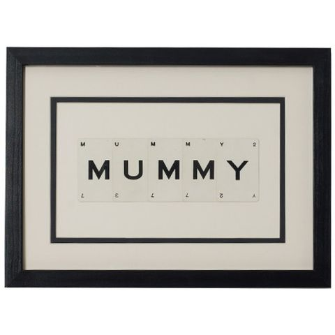 MUMMY,Vintage,playing,card,frame,vintage, playing, cards, mummy, mum, mothers, day, gift, art, framed, monochrome, stylish, unique, upcycled,
