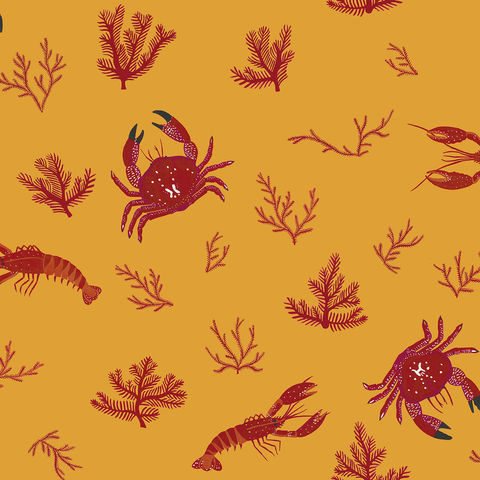 Crustaceos,Wallpaper,by,Coordonne,crustaceos, wallpaper, bold, painted, sea, marine, coordonne, eco, sustainable, lobster, coral, crab