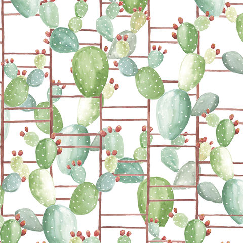Chumbera,Wallpaper,by,Coordonne,chumbera, cactus, tropical, cacti, wallpaper, botanical, grid, geometric, plants, green, eco, sustainable, coordonne