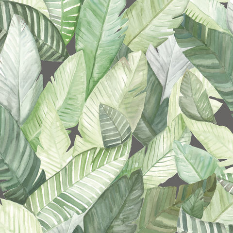 Banano,Wallpaper,by,Coordonne,eco, sustainable, tropical, botanical, banana, palm, leaf, leaves, wallpaper, pattern, coordonne, banano, green, grey