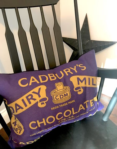 Dairy,Milk,Upcycled,Cushion,upcycled, bold, statement, cushion, pillow, chocolate, house warming, gift, cadburys, purple, vintage, retro, unique, one off