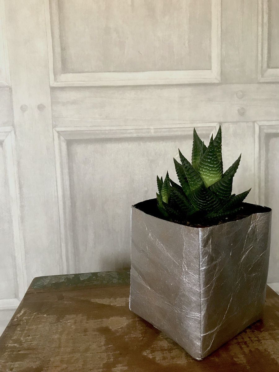 Metallic Silver Recycled Basket Planter - product images  of