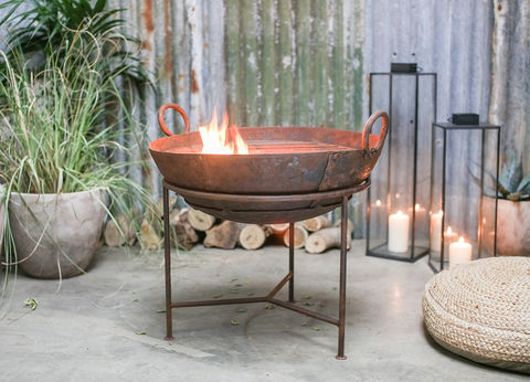 RECLAIMED,IRON,KADAI,WITH,GRILL,reclaimed, kadai, fire bowl, firepit, barbeque, garden,stylish, decor, recycled, upcycled, UK, stockist