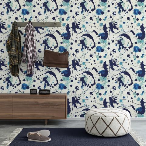 Mind,The,Gap,'Splatter',Wallpaper,blue, inky, splatter, mind the gap, wallpaper, interior, design, eco, friendly, fsc, paste the wall,