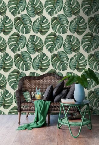 Mind,The,Gap,'Tropical,Leaf',Wallpaper,mind the gap, tropical, leaf, monstera, eco, fsc, non woven, paste the wall, wallpaper